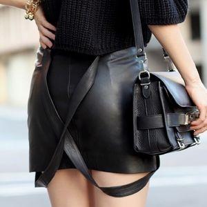 Maje Black Leather Suspenders Mini Skirt Small